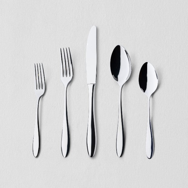 Silver flatware in 5 shapes