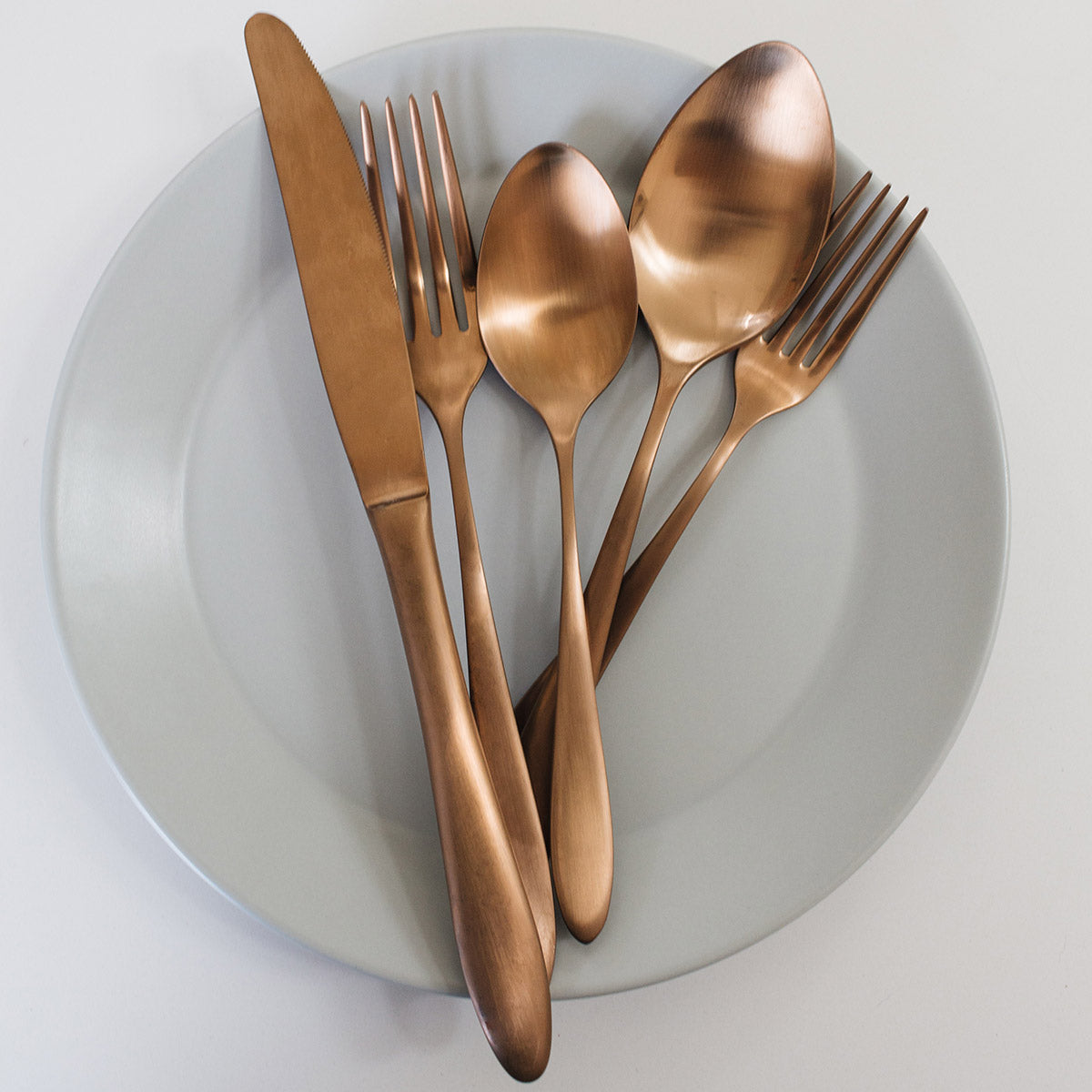 satin copper flatware set