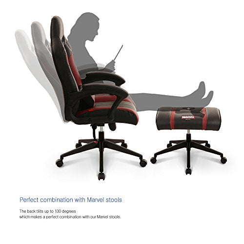 Neo Chair Licensed Marvel Iron Man Gaming Chair 330lb High End Ergonomic Neck Lumbar Support Steel Armrest Tiltable Computer Desk Office Executive Premium Leather Racing Chair, Black