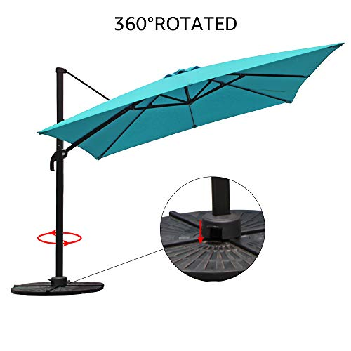 COBANA Offset Rectangular Cantilever Aluminum Patio Umbrella 10 Feet with Cross Base and 360 Degree Rotation, Blue