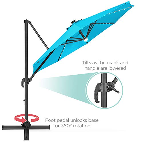 Best Choice Products 10-Foot Solar LED 360 Degree Aluminum Polyester Cantilever Offset Market Patio Umbrella Shade with Easy Tilt and Smooth Gliding Handle, Tan