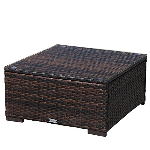 Super Patio 6 Piece Patio Furniture, All Weather PE Brown Wicker Patio Set Sofas with Glass Coffee Table, Steel Frame, Beige Cushions