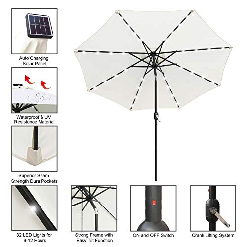 ABCCANOPY Solar Umbrellas Patio Umbrella 9 FT LED Umbrellas 32LED Lights with Tilt and Crank Outdoor Umbrella Table Umbrellas for Garden, Deck, Backyard, Pool and Beach,12+Colors, (Purple)
