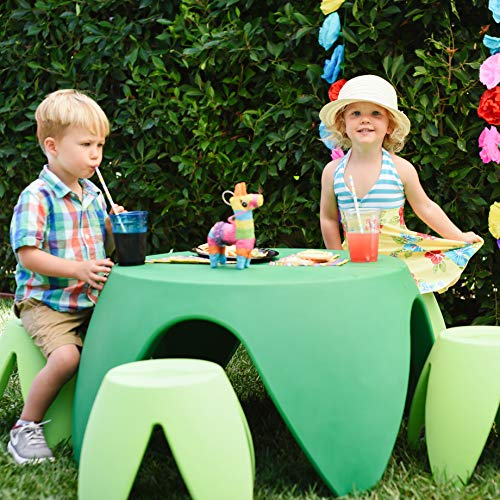 ECR4Kids Blossom Table and Stool Indoor/Outdoor Furniture Set, Green (5-Piece)