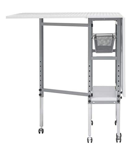 Sew Ready Studio Designs Folding Multipurpose Hobby and Craft Cutting Table with Drawers, 13374, Silver/White