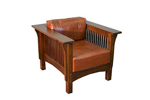 Crafters & Weavers Mission Crofter Style Oak and Leather Arm Chair / Craftsman Sofa Chair