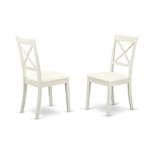 East West Furniture DLBO3-WHI-W 3 Pc Small Kitchen Table and 2 Dining Chairs, 3 Pieces, Linen White Finish