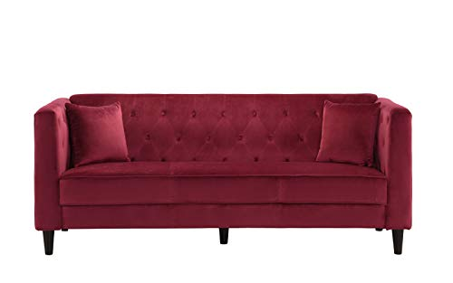 Mid-Century Tufted Velvet Sofa, Living Room Couch with Tufted Buttons (Red)