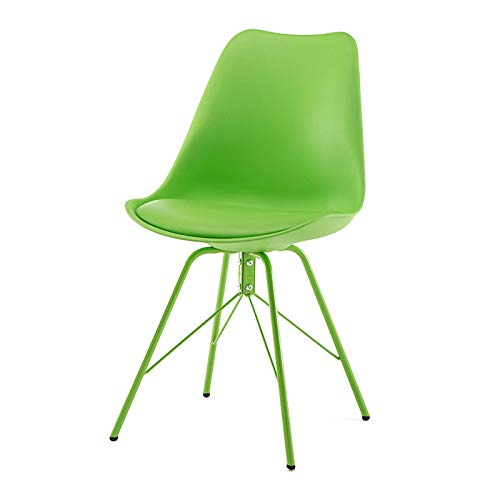 Design Furniture Collection Set of 4 Dining Chairs with PU Leather Cushion Assembleable Suitable for Kitchen Room Dining Room Modern Office Chair (Green)