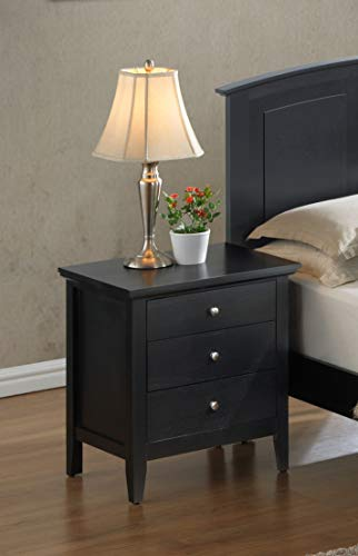 "Glory Furniture Hammond G5490-N Fully Assembled White Wood 3 Drawer Luxury Bedroom Furniture Nightstand, 26"" H x 24"" W x 18"" D,"
