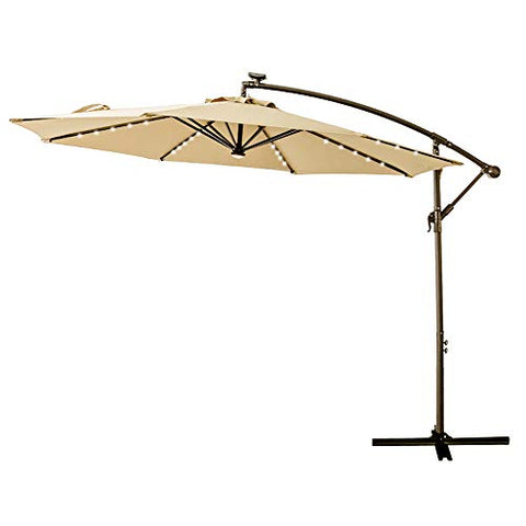 C-Hopetree 9ft LED Lighted Solar Outdoor Patio Market Umbrella for Balcony Table Deck Garden Shade or Pool with Tilt, Beige