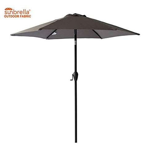 FLAME&SHADE 7.5' Sunbrella Market Style Patio Umbrella for Outdoor Table Balcony Sun Shade or Garden Café Aluminum with Tilt, Navy Blue