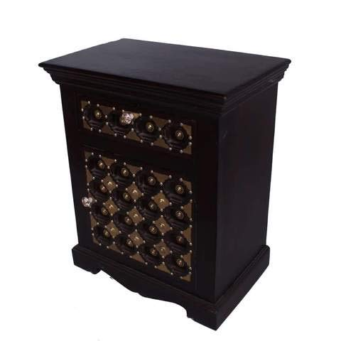 Slick Solid Wood with Accent Brass Nightstand 1 Drawer & 1 Door