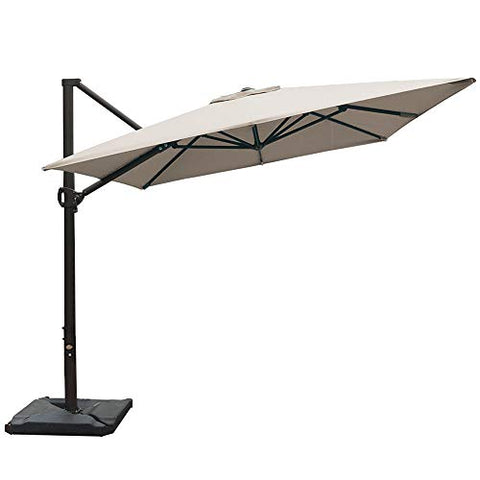 Abba Patio 11 Ft Offset Patio Umbrella with Crank Lift and Tilt and Cross Base, Dark Red