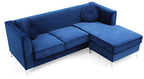 "Glory Furniture Delray G791B-SC Sofa Chaise, Navy Blue. Living Room Furniture, 32"" H x 87"" W x 63"" D,"