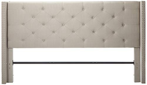 "Life Home Premiere Classics Cloth Light Grey Silver Linen 51"" Tall Headboard Platform Bed with Slats Queen - Complete Bed 5 Year Warranty Included"