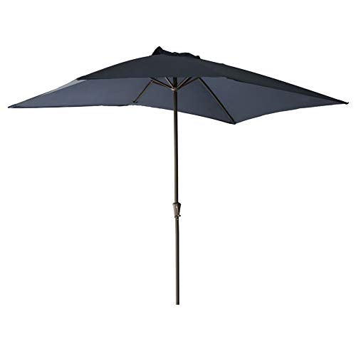 "FLAME&SHADE Rectangle Patio Umbrella Outdoor Market Style 6'6"" x 10' for Outside Deck Terrace Table Balcony or Pool, Navy Blue"
