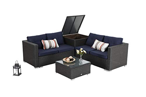 PHI VILLA 9 Piece Outdoor Furniture Sectional Patio Sofa Dining Set with Cushion Box Storage