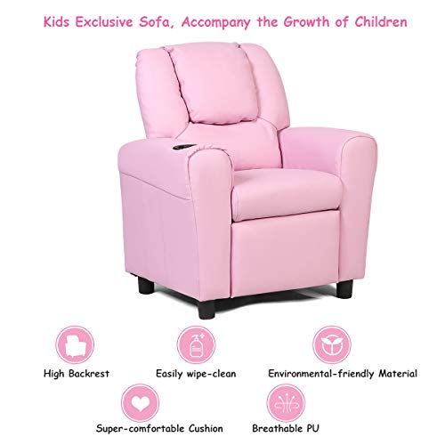 Costzon Contemporary Kids Recliner, PU Leather Lounge Furniture for Boys & Girls W/Cup Holder, Children Sofa Chair (Pink)