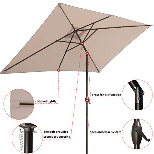 RUBEDER Offset Umbrella - 10Ft Cantilever Patio Hanging Umbrella,Outdoor Market Umbrellas with Crank Lift & Cross Base (10 Ft, Beige)
