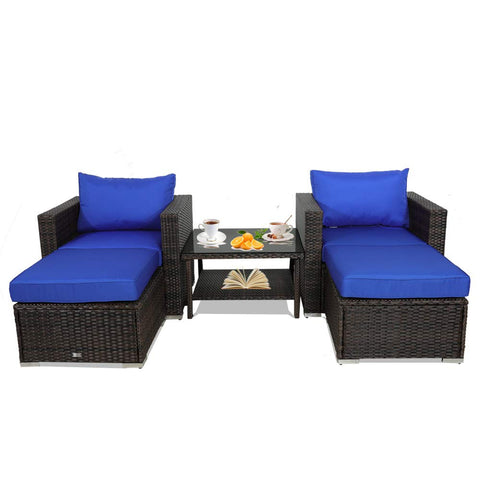 Leaptime Patio Rattan Sofa 7-Piece Outdoor Wicker Furniture Outside Conversation Couch Deck Seating Black Rattan Royal Blue Cushion