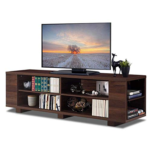 "Tangkula TV Stand Modern Wood Storage Console Entertainment Center for TV up to 59"", Home Living Room Furniture with 8 Open Storage Shelves (Walnut)"