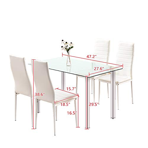 Dining Table with Chairs,4HOMART 5 PCS Glass Dining Kitchen Table Set Modern Tempered Glass Top Table and PU Leather Chairs with 4 Chairs Dining Room Furniture White