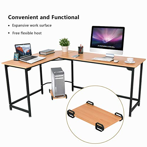 "Tangkula 66"" Computer Desk L-Shaped Corner Writing Table Smooth Top Home Office Workstation Modern Study Laptop Desk with CPU Stand (Black)"