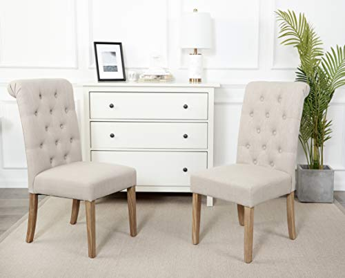 Red Hook Furniture Serena Solid-Wood Tufted Upholstered Armless Dining Chair, Natural Sand Set of 2