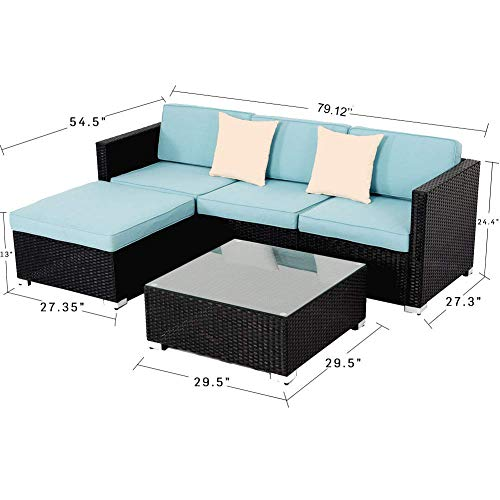 Oakmont Outdoor Patio 6-Piece Furniture Set Durable Frame Premium Rattan Wicker Sectional Sofa with Sector Glass Top Table Thick Sky Blue Cushions and 2 Pillows Weatherproof Cover Backyard