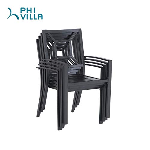"PHI VILLA 5 Piece Metal Patio Dining Set 37"" Square Patio Bistro Table and Garden Backyard Chairs - Umbrella Hole 1.57"""