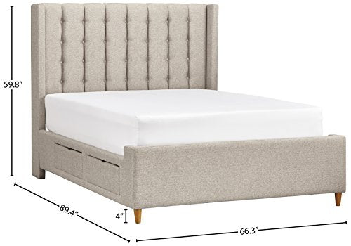 "Rivet Payton Mid-Century Modern Tufted King Bed with Headboard, 82"" W, Natural"