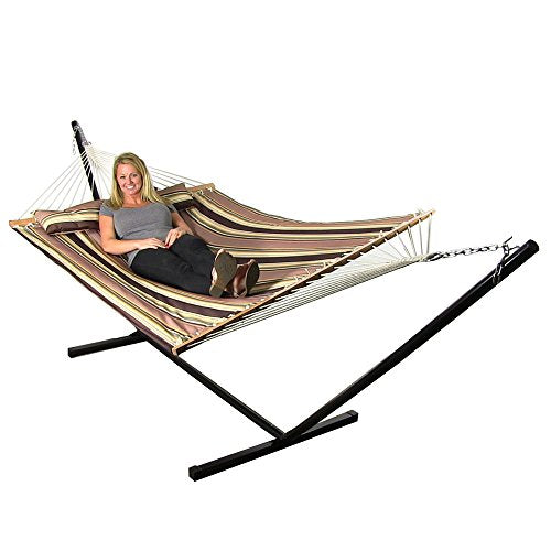 Sunnydaze 2 Person Double Hammock with 12 Foot Portable Steel Stand & Spreader Bar, Quilted Fabric Bed, Sandy Beach