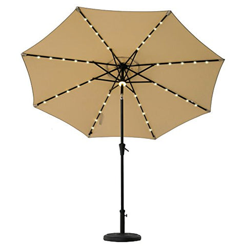 FLAME&SHADE 9' Outdoor Market Umbrella with Solar LED Lights and Tilt for Patio Table Balcony Terrace or Garden Deck, Navy Blue