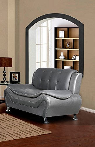 "Container Furniture Direct S5411-3PC Arul Leather Air Upholstered Mid Century Modern Set with 77.5"" Loveseat and Sofa Chair Black/White"