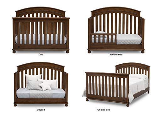 Baby Furniture Set - 7-Piece Nursery Furniture |Simmons Kids Aden | Convertible Crib, Dresser, Glider Recliner, Crib Mattress,Toddler Rail, Changing Top, Changing Pad, Storm Grey/Flax