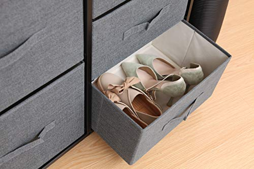 East Loft Storage Cube Dresser | Organizer for Closet, Nursery, Bathroom, Laundry or Bedroom | 5 Fabric Drawers, Solid Wood Top, Durable Steel Frame | Natural