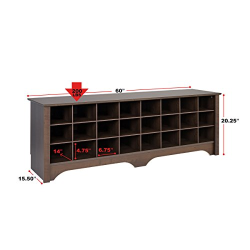 Prepac BSS-6020 24 Pair Shoe Storage Cubby Bench, Black