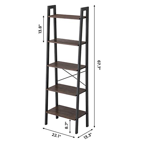 VASAGLE Industrial Ladder Shelf, 5-Tier Bookshelf, Bookcase and Storage Rack, Wood Look Accent Furniture with Metal Frame, for Home Office, Rustic Brown ULLS45X