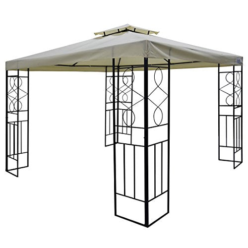 Quictent 12x12 ft Garden Gazebo Canopy Pergola with Mesh Screen Netting Curtains Heavy Duty 100% Waterproof for Deck, Patio and Backyard (Tan)