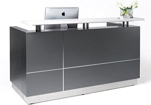 "GW FURNITURE Modern Space Grey Reception Desk (71"") with Quartz Stone Counter TOP"