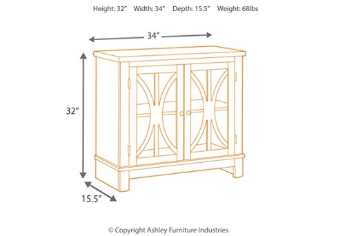 Ashley Furniture Signature Design - Vennilux  - 2 Doors with Glass Inserts - Vintage Casual - Bisque