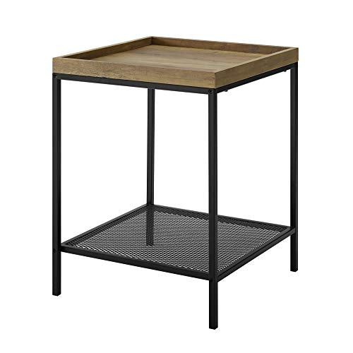 "WE Furniture AZF18EMISTDW Side Table, 18"", Dark Walnut"