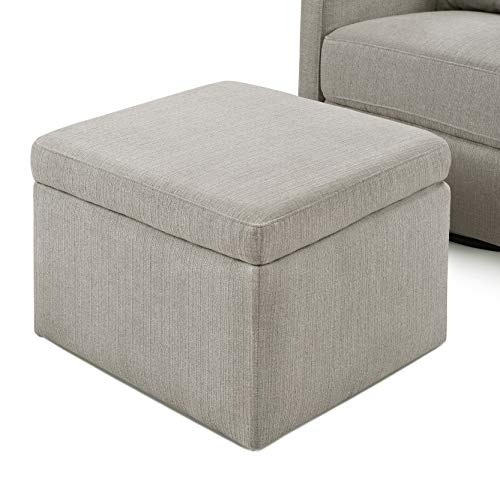 Carter's by Davinci Adrian Swivel Glider with Storage Ottoman in Water Repellent and Stain Resistant Fabric, Grey Linen