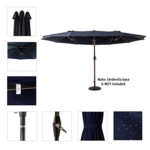 FLAME&SHADE 15' Twin Outdoor Patio Market Umbrella Double Sided Oval Shape for Outside Garden Table or Deck Rectangle, Navy Blue