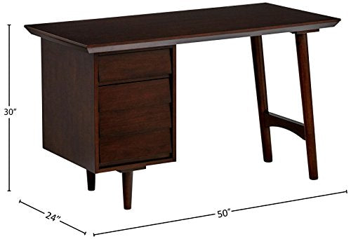 "Rivet Ventura Mid-Century Louvered Chest of Drawers, 38""W, Brown"