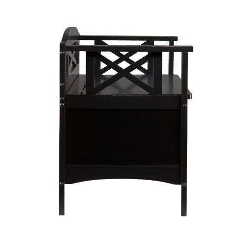 Cutler Entryway Storage Bench - Hidden Storage - Wood Frame w/ Black Finish