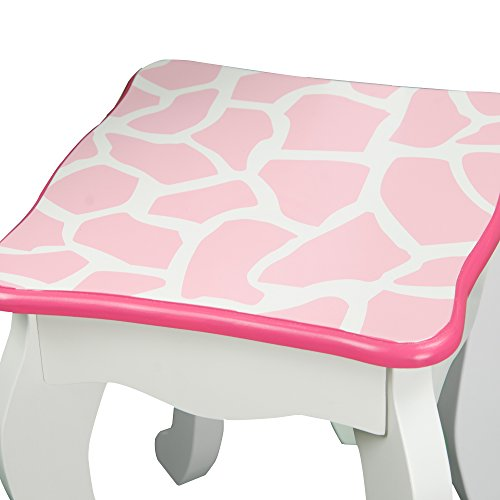 Teamson Kids TD-11670F Fashion Prints Wooden Vanity Table and Stool Set, Pink/Polka Dot, Pink/White, One Size