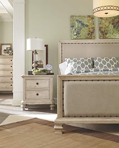 Ashley Furniture Signature Design - Demarlos Nightstand - 2 Drawers - Vintage Casual - Parchment White