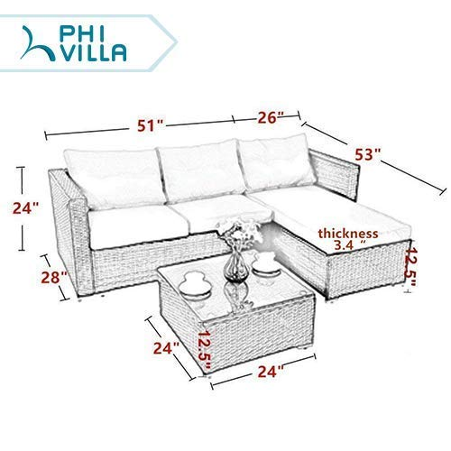 PHI VILLA Outdoor Rattan Sectional Sofa- Patio Wicker Furniture Set (3-Piece, Blue)